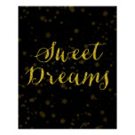 Sweet Dreams Quote Gold Faux Foil Star Background Poster