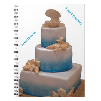 Sweet dreams sea shells wedding cake spiral notebook