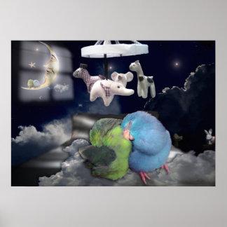 Sweet Dreams Sleeping Birds Nursery Room Poster
