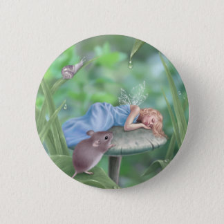 Sweet Dreams Sleeping Fairy & Mouse Button Badge