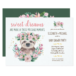 Sweet Dreams SLOTH Girls Baby Shower Floral Invitation
