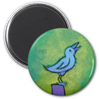 Sweet Dreams Song tiny art singing bird painting 2 Inch Round Magnet
