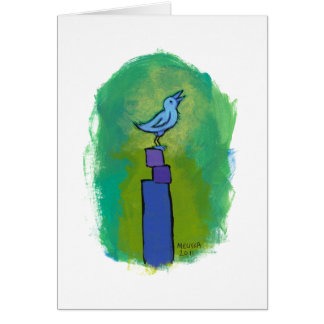 Sweet Dreams Song tiny art singing bird painting Card