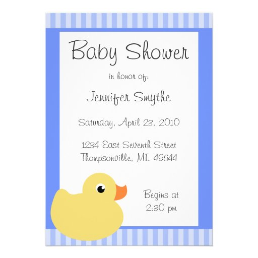 Sweet Ducky Blue Baby Shower Invitations