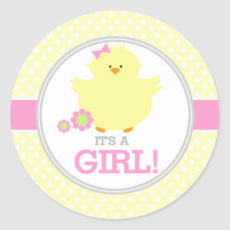 Sweet Ducky Its a Girl Round Sticker