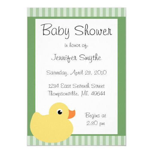 "Sweet Ducky Mint Baby Shower Invitations 5"" X 7"" Invitation Card"
