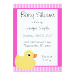 "Sweet Ducky Pink Baby Shower Invitations 5"" X 7"" Invitation Card"