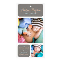 Sweet Duet Photo Baby Boy Birth Announcement
