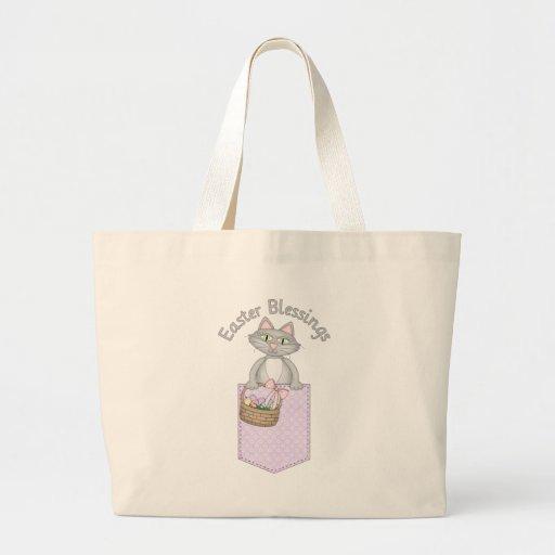 Sweet Easter Blessings Kitty Cat Pocket Jumbo Tote Bag
