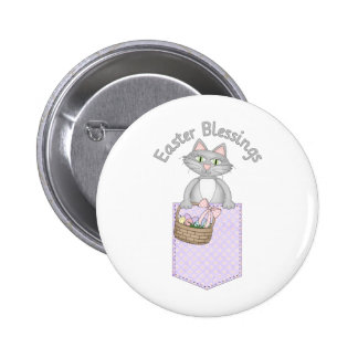 Sweet Easter Blessings Kitty Cat Pocket Pinback Buttons