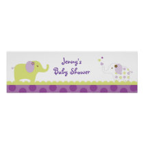 Sweet Elephant Baby Shower Banner Sign