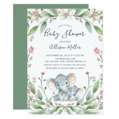 Sweet Elephant Baby Shower Invitation