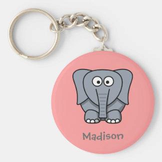 Sweet elephant basic round button keychain