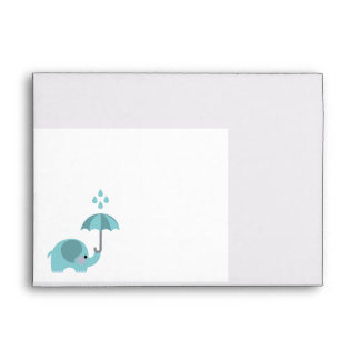 Sweet elephant blue boys baby shower envelopes