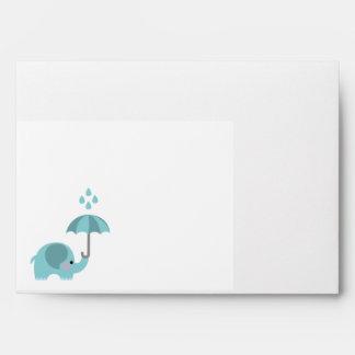 Sweet elephant blue boys baby shower envelopes