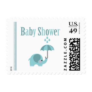 Sweet elephant blue boys baby shower stamps
