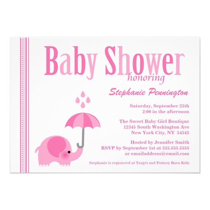 girl elephant baby shower invitations elephant pink girls baby