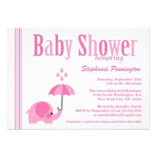 Sweet elephant pink girls baby shower invitation