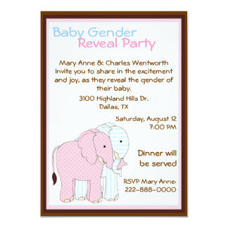 Sweet Elephants Baby Gender Reveal Party Card