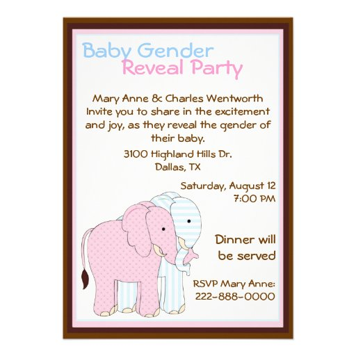 Sweet Elephants Baby Gender Reveal Party Custom Invitations