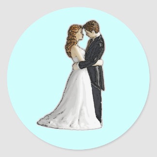 Sweet Embrace Wedding Invitations Envelope Seals Classic Round Sticker