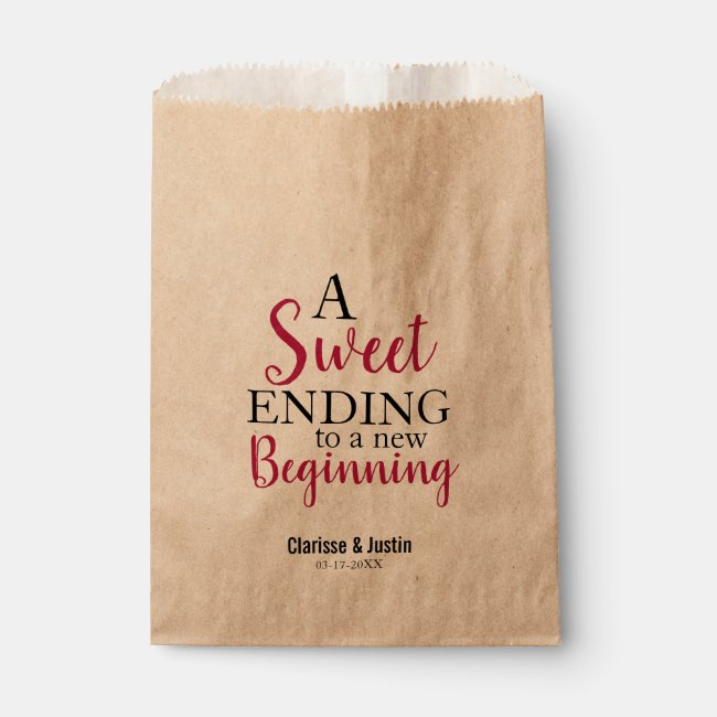 Sweet Ending New Beginning Burgundy Red Wedding Favor Bag