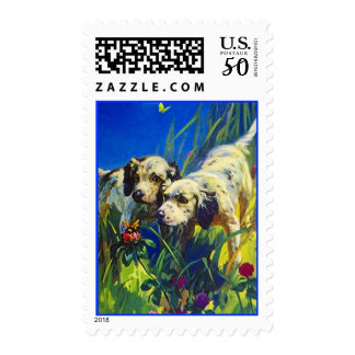 Sweet English Setter Puppies & Bumblebee ~ STAMPS