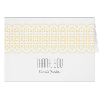 Sweet Eyelet Lace Baby Shower Thank You in Yellow Cards