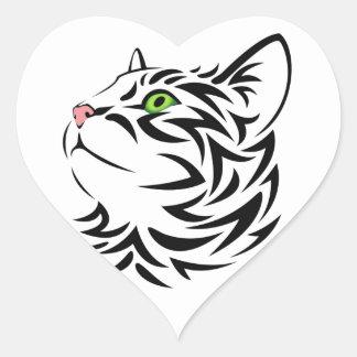 Sweet Face Kitty Cat Heart Sticker