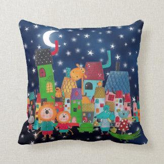 Sweet Fairly Tail Magic Town Animals Golden Stars Throw Pillow