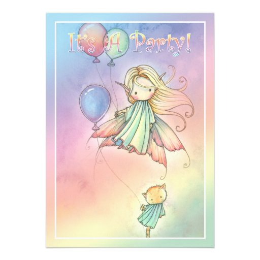 Sweet Fairy and Kitten Birthday Party Invitations