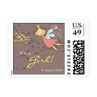 Sweet Fairy and Stars Baby Announcement Postage