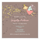 "Sweet Fairy and Stars Birthday Photo Invitation 5.25"" Square Invitation Card"