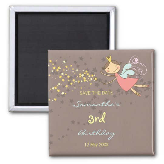 Sweet Fairy and Stars Girl's Birthday Party Magnet
