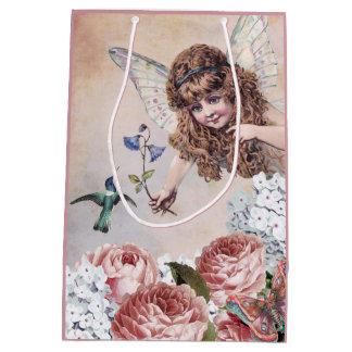 Sweet Fairy Greets Hummingbird Medium Gift Bag