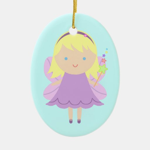 Sweet Fairy Double-Sided Oval Ceramic Christmas Ornament