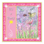 "Sweet Fairy Party Invitations 5.25"" Square Invitation Card"