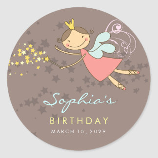 Sweet Fairy Stars Birthday Party Gift Tag Sticker