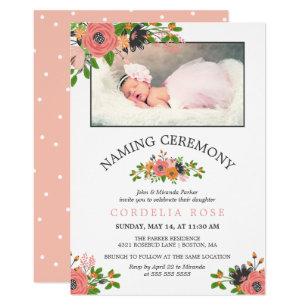 Pink naming ceremony invitations zazzle sweet fall flowers naming ceremony photo invitation stopboris Choice Image