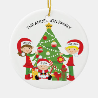 Sweet Family of 3 Personalized Christmas Ornament