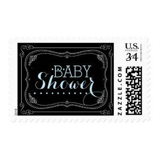 Sweet Fancy Chalkboard Baby Shower Blue Boy Stamp