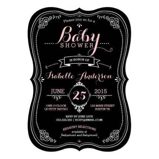 Sweet Fancy Chalkboard Baby Shower Girl Personalized Invite