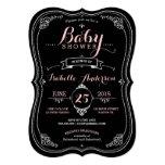 Sweet Fancy Chalkboard Baby Shower Girl 5x7 Paper Invitation Card