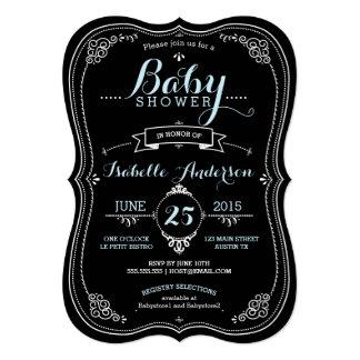 Sweet Fancy Chalkboard Boy Baby Shower Card