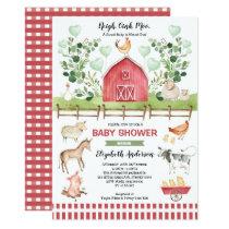 Sweet Farm Animals Barnyard Baby Shower Invitation