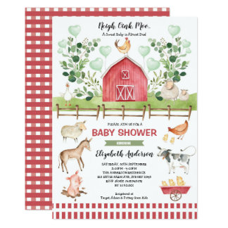 Sweet Farm Animals Barnyard Baby Shower Invitation