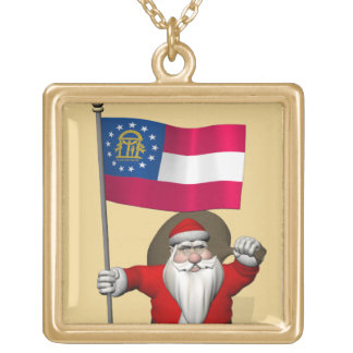 Sweet Father Christmas Visiting Georgia Gold Plated Necklace