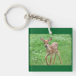 Sweet Fawn Single-Sided Square Acrylic Keychain