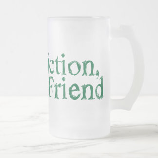sweet fiction, friend frosted glass beer mug