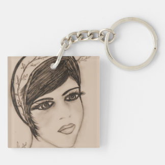 Sweet Flapper in Sepia Square Acrylic Key Chain